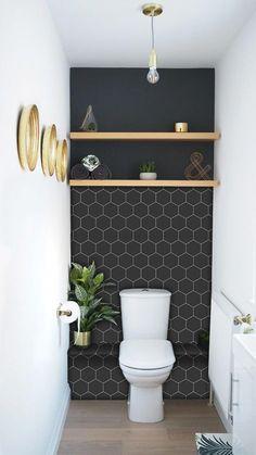 Vinyl Wallpaper, Wallpaper Ideas, Trendy Wallpaper, Wallpaper Designs, Temporary Wallpaper, Kitchen Wallpaper, Textured Wallpaper, Geometric Wallpaper, Modern Bathroom With Wallpaper