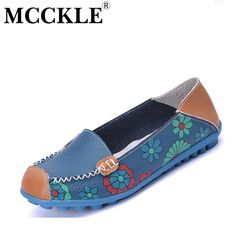 MCCKLE 2017 Spring Women Casual Shoes Genuine Leather Printing Loafers  Shoes Woman Fashion Slip On Shallow 91e1fd382962