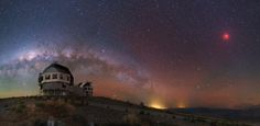 Eclipsed in Southern Skies October 2015 via NASA This stunning panorama in southern skies was recorded on the colorful night of September from Carnegie Las Campanas Observatory. Blood Moon Lunar Eclipse, Moon Surface, Astronomy Pictures, Sky Images, Andromeda Galaxy, Space And Astronomy, To Infinity And Beyond, Milky Way, Solar System
