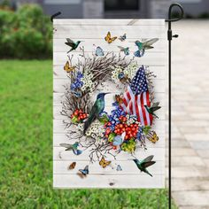 """The Hummingbird, God's Tiny Miracle Flag  """"Healing, bringing of love, giving luck and joy are my missions"""" - A little Hummingbird.  Let me make your garden more beautiful! Christian Flag, Peace Flag, Tiny Miracles, Flag Holder, Cemetery Decorations, Watercolor Pictures, Flag Stand, Creative Artwork, Dog Halloween"""