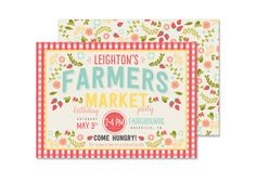 Farmers Market Birthday Invitation - PRINTED - As seen on Kara's Party Ideas