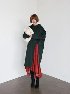 deep green hood cape coat
