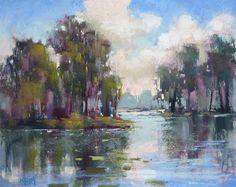 Marsh, River Southeast Original Landscape Pastel Painting Karen Margulis 8x10