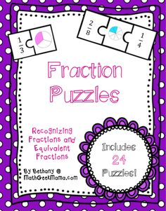 Fraction Math Puzzles {Printable}: The first set of free puzzles matches the fraction in number form to it's visual representation. The second set of math puzzles matches equivalent fractions to the picture. Such a handy tool is easy to integrate into your classroom!