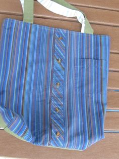 Blue striped market bag - reversible - $26 - Daddy's Button Shirt