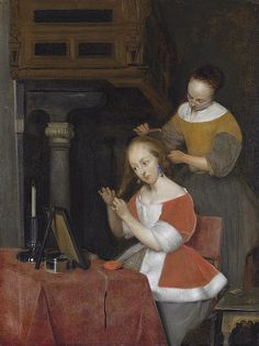 A lady at her toilet by Gerard ter Borch II, 1657