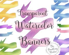 ● 12 Watercolor Ribbon Banners (png, transparent, blendable) ●  --- The pack includes: ---  12 images in transparent png format in 300dpi. Each ribbon banner comes in a different color, a total of 12 ribbon banners! #watercolorbanners #ribbonbanners #clipart #etsyshop