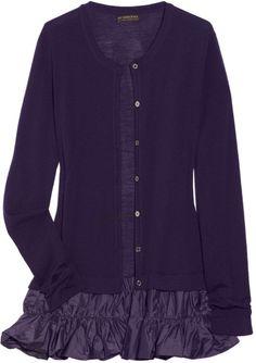 Burberry Prorsum Taffeta-trimmed Wool Cardigan in Purple
