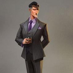 Mafia Boss-man. Character concept for Prominence Poker video game. It's common knowledge purple is a real man's color. #conceptart #painting #visdev #lawvalamp #brianlawver #animation #ps4 #xbox1