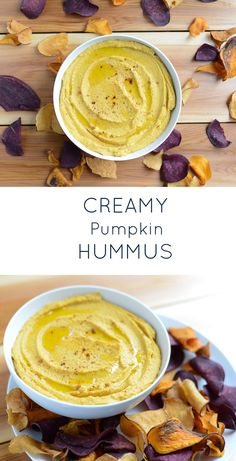 Creamy Pumpkin Hummus. A quick, easy, healthy dip or spread. Perfect as an appetizer or for snacking!