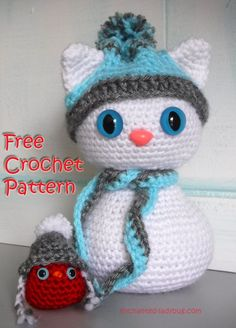 Free Crochet Amigurumi Winter Snow Cat and Red Bird Buddy Pattern. Free PDF crochet pattern download.