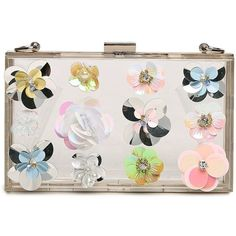 Lam Gallery Women's Colorful 3D Flower Clear Acrylic Purse Abstract... (£28) ❤ liked on Polyvore featuring bags, handbags, clutches, man bag, lucite box clutch, clear hand bags, hard clutch and flower purse