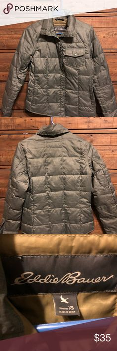 Eddie Bauer Sage Green Grey Down Coat Jacket XS Like new Eddie Bauer Greenish Grey Sage color ..  thin light weight but super warm down (80% down)  coat .. pretty color .. very comfortable .. only worn 3 times Eddie Bauer Jackets & Coats Puffers