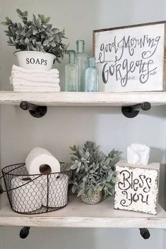 24 Wonderful Small Farmhouse Bathroom Decor Ideas And Remodel. If you are looking for Small Farmhouse Bathroom Decor Ideas And Remodel, You come to the right place. Here are the Small Farmhouse Bathr. Diy Bathroom Decor, Small Bathroom, Bathroom Ideas, Bathroom Shelves, Bathroom Organization, Bling Bathroom, Kitchen Decor, How To Decorate Bathroom, Bathroom Interior
