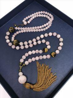 Mala necklace- rose quartz and tiger eye gemstone - 108 beads