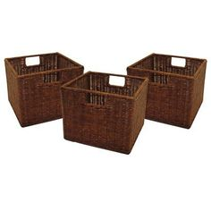 """Target: $40.49  Baskets Set of 2 Light Espresso. This three-piece, rattan basket set is stained light espresso. These baskets are ideal for closet storage, bookcases or any craft room. They each have handles and are easily cleaned with a damp cloth. Dimensions: 9.0""""Hx10.0""""Wx11.0""""L."""