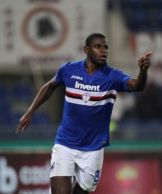 Duvan Zapata of UC Sampdoria celebrates after scoring the opening goal during the Serie A match between AS Roma and UC Sampdoria at Stadio Olimpico on January 28, 2018 in Rome, Italy. - 21 of 33