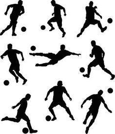 Set of Soccer Players Silhouettes vector art illustration Soccer Birthday Cakes, Soccer Cake, Football Birthday, Soccer Party, Girl Birthday, Soccer Bedroom, Boys Bedroom Paint, Soccer Silhouette, Football Poses