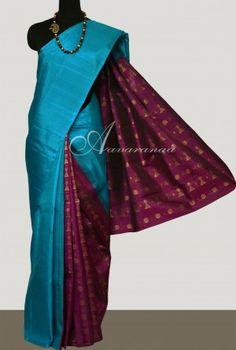 Teal blue majenta partly pallu kanchi silk saree