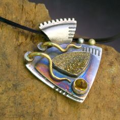22K Gold and Silver Pendant Aztec Elements