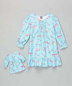 Another great find on #zulily! Turquoise Crown Nightgown & Doll Outfit - Girls #zulilyfinds