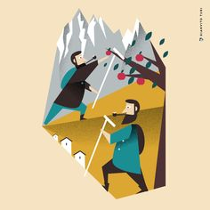 Illustrazione per Italian Tools di e con Francesco Fusillo / 20 regioni / 20 oggetti / 20 illustrazioni / TRENTINO ALTO ADIGE / Bastone per passeggiare e raccogliere mele #illustration #illustrator #trentino #trentinoaltoadige #regione #design #designer #Italy #drawings #foodart #graphicdesign #tools #appletree #mountain #walkingstick #bastone #vector