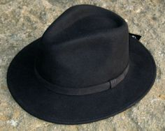 Hand Made 100% Wool High Quality Fedora Hat (Navy Blue & Black) S, M, L
