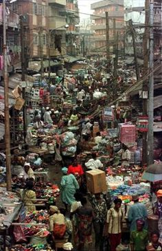Market Street in Lagos, Nigeria, Africa
