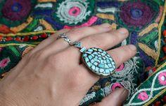 Türkis Ring Vintage Boho klobige Anweisung mit von Faerymother