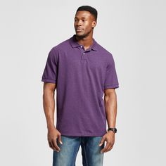Men's Big & Tall Polo Shirt Purple 3XB Tall - Merona