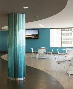 Móz Easy-to-Assemble (ETA) Round Column Covers with Custom Blendz Column Wrap, Banks Office, Column Covers, Pillar Design, Border Tiles, Column Design, Office Space Design, Office Branding, Corporate Interiors