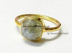 925 Sterling Silver Labradorite Gemstone Bezel Gold Plated Ring Gemstone Jewelry
