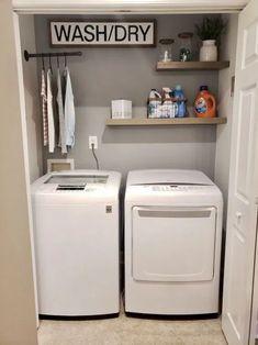 49 Minimalist Small Laundry Room Design And Decor Ideas - Modern Laundry Room Diy, Small Spaces, Room Closet, Diy Laundry, Room Storage Diy, Apartment Laundry, Laundry Closet Makeover, Closet Makeover