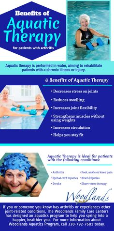 Do you have arthritis? The Woodlands Aquatics program can help you put some spring back into your step. If you have arthritis or experience another joint-related condition you could benefit from Aquatic Therapy. Check out a few of the benefits below:  Call us today: 330-792-7681