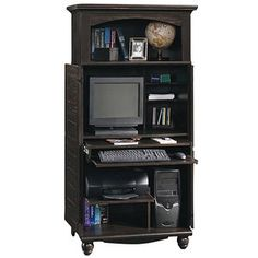 Sauder Computer Armoire, Antiqued Black Paint for 249