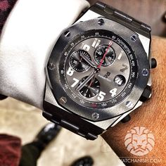 Audemars Piguet Piguet Piguet Royal Oak Offshore 'Qatar 135th anniversary' edition. 42mm Titanium case with ceramic bezel and grey dial with red hands + red accent on 135 tachymeter marking to symbolise the 135th year of the National Day of Qatar