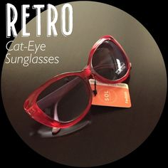 ⬇️Fun Retro Red Cat-eye Sunglasses Super cute, very retro red cat eye sunglasses! Classic red sunnies look great with everything and I love how flattering the cat eye shape is. These remind me of days by the water, shopping in downtown, and road trips with friends. Such a cute and carefree style, they'll look great with everything! Brand new, never worn, still have the tags. They have 100% UVA / UVB protection to keep your eyes healthy, too. You'll love wearing these!❤️❤️❤️ Accessories…