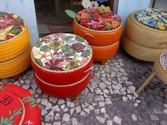 Amazingly, there are a lot of DIY tire projects homemade that could really help at home. Tire Seats, Tire Chairs, Tyres Recycle, Upcycle, Tire Ottoman, Tire Craft, Tire Furniture, Outdoor Furniture, Outdoor Decor