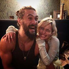 "Emilia Clarke reunites with her ""sun and stars"" Jason Momoa. Emilia Clarke reunited with her ""sun and stars,"" actor Jason Momoa, over the weekend. Emilia Clarke Jason Momoa, Game Of Throne Actors, Game Of Throne Daenerys, Marie Claire, Daenerys And Khal Drogo, Daenerys Targaryen, Jason Momoa Khal Drogo, Acteurs Game Of Throne, Game Of Trone"