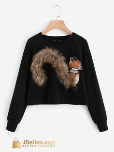 Faux Fur Fox Patch Sweatshirt Camisas ee396aa022a