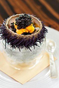 Chef Tetsuya Wakuda's Marinated Botan Shrimp with Sea Urchin and Caviar at Waku Ghin, Singapore.