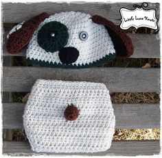 Patches the Puppy Crochet Hat and Diaper Cover 2