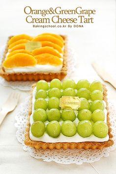Tart Recipes, Sweets Recipes, No Bake Desserts, Cheese Tarts, Korean Dessert, Green Grapes, Fruit Tart, Home Baking, Bakery Cakes