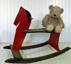 Antique Large Wooden Red Rocking Horse - Vintage Handmade Ride On Child Size HearthSide Toy - Shabby Farmhouse Holiday Decor - FREE Shipping