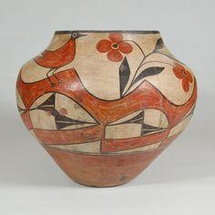 "#adobegallery - Zia Pueblo Olla with Birds, Flowers and Wavy Band. Category: Historic Origin: Zia Pueblo Medium: clay, pigment Size: 10-1/4"" height x 12"" diameter Item # 25812"