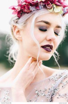 Striking Inspiration From A Powerful Pantone Pair Floral Headpiece, Purple Dress, Bridal Accessories, Hair Pieces, Beautiful Bride, Veil, Bridal Dresses, Wedding Events, Floral Design