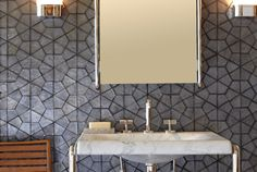 ANN SACKS Profile segmented hex glass mosaic in shadow irid with @Kallista Kelly Plumbing One mirror, wall sconce, console top, and console legs (photographer: Phillip Ennis, stylist: Jason Trotter)
