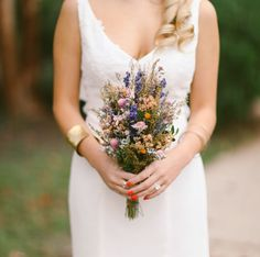 This striking bouquet is made of dried flowers.