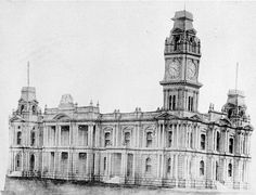 The Bendigo Town Hall. Bendigo Town Hall, Hargreaves Street, Bendigo, Victoria, Australia, 1890 W H Robinson Studio, 1890