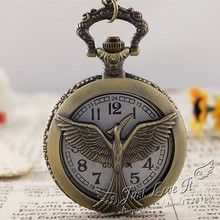 25pcs/lot Fashion Bronze Retro Vintage Hunger Games Bird Quartz Pocket Watch Round Dial Arabic Numberfor for men women Gift